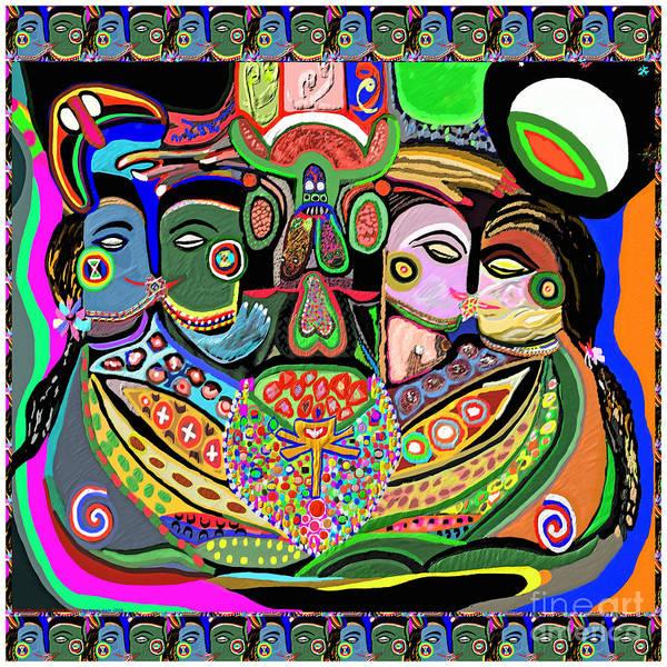 Arousal Painting - Artistic Display Of Orgasm Tantra System Of Sexual Arousal Thru Yoga Asana Mantra Chant Vibration En by Navin Joshi