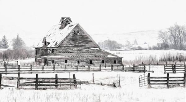 Photograph - Artistic Winter Barn by Mary Jo Allen
