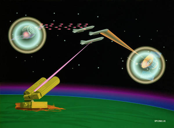 Laser Photograph - Artist's Impression Of Sdi Lasers In Use by Us Department Of Energy/ Science Photo Library