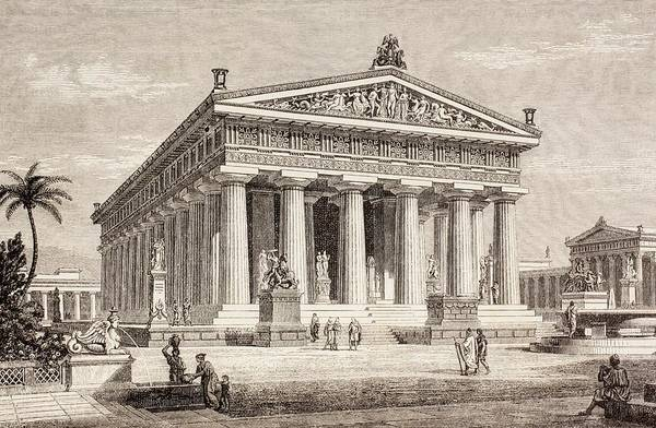 Structure Drawing - Artists Impression Of The Temple Of Poseidon, Paestum by European School
