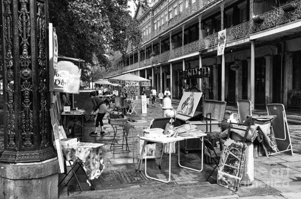 Photograph - Artists In The Square Mono by John Rizzuto