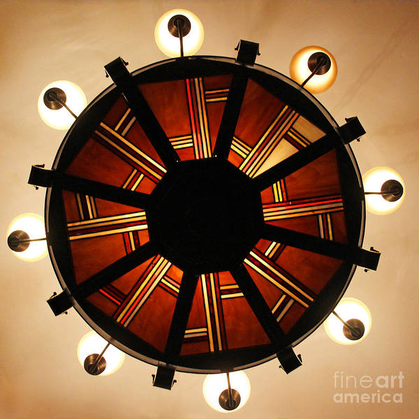 Photograph - Arts And Crafts Chandelier At Summit Inn by Karen Adams