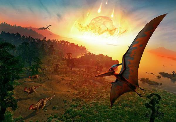 Wall Art - Photograph - Artwork Depicting Extinction Of Dinosaurs by Mark Garlick