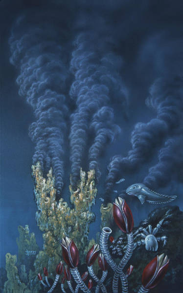 Vent Photograph - Artwork Of A Black Smoker Hydrothermal Vent by David A. Hardy/science Photo Library