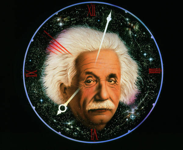 1921 Photograph - Artwork Of Albert Einstein On A Space Clock by Stuart Painter/science Photo Library