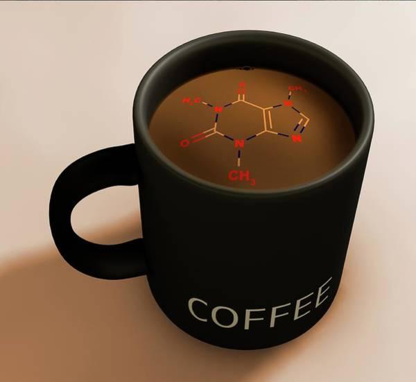 Coffee Mug Photograph - Artwork Of Caffeine In Coffee by Mark Garlick/science Photo Library