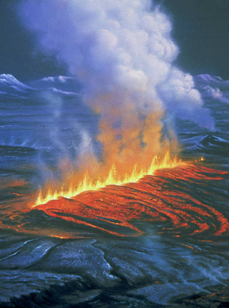 Fissure Photograph - Artwork Of Fissure Eruption by David Hardy/science Photo Library