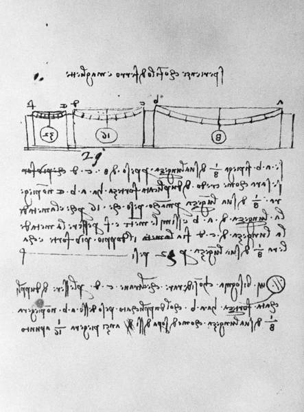 Photograph - Artwork Of Forces On Beams By Leonardo Da Vinci by Science Photo Library