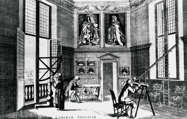 Astronomer Photograph - Artwork Of Greenwich Observatory Interior In 1676 by Science Photo Library