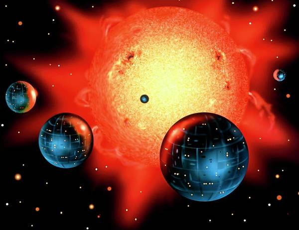 Impression Photograph - Artwork Of Planets Orbiting A Star by David A. Hardy/science Photo Library