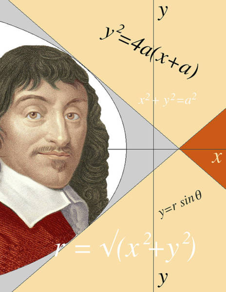 Philosopher Wall Art - Photograph - Artwork Of Rene Descartes With Equations And Lines by Sheila Terry/science Photo Library