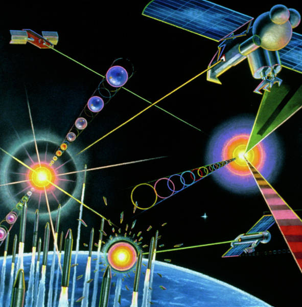 Laser Photograph - Artwork Of Star Wars (sdi) Satellites In Action by Andrzej Dudzinski/science Photo Library