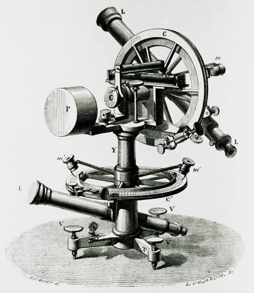 Wall Art - Photograph - Artwork Of Theodolite Made By Ramsden In The 1780s by Science Photo Library
