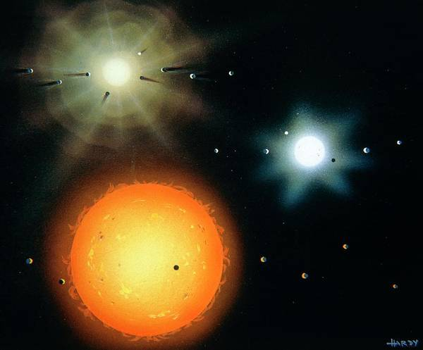 Evolution Photograph - Artwork Of Three Stages Of Solar System Evolution by David A. Hardy/science Photo Library