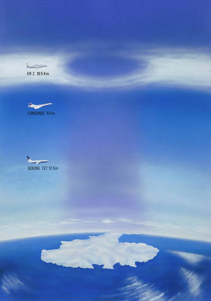 Ozone Layer Photograph - Artwork Showing Hole In Ozone Layer by Michael Gilbert/science Photo Library