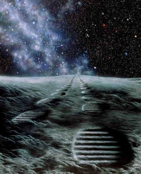 Wall Art - Photograph - Artwork Showing Human Footprints On The Moon by Julian Baum/science Photo Library