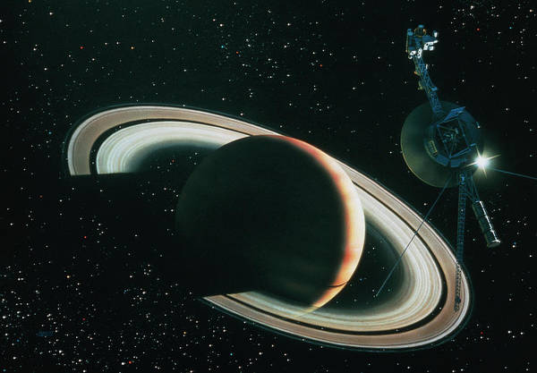 Voyager Photograph - Artwork Showing Voyager 1 Leaving Saturn by David A. Hardy/science Photo Library