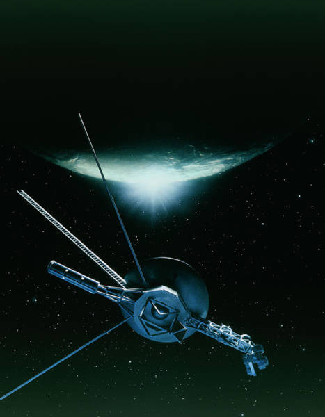 Flyby Photograph - Artwork Showing Voyager 2 Leaving Triton by Julian Baum/science Photo Library