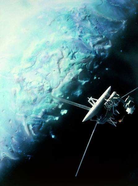 Flyby Photograph - Artwork Showing Voyager 2's Encounter With Triton by Julian Baum/science Photo Library