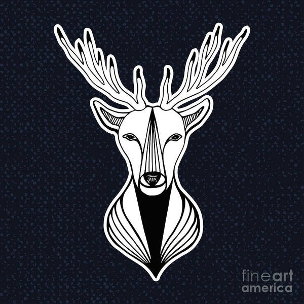Wall Art - Digital Art - Artwork With Deer Head. Hipster Print by Worldion