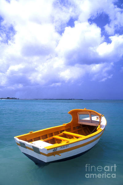 Vibrant Color Wall Art - Photograph - Aruba. Fishing Boat by Anonymous