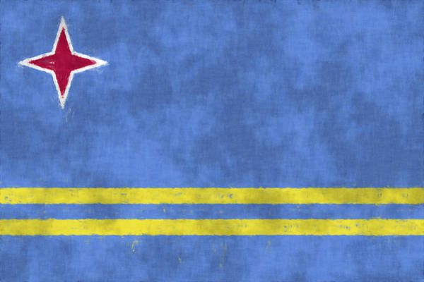Carribean Islands Digital Art - Aruba Flag by World Art Prints And Designs
