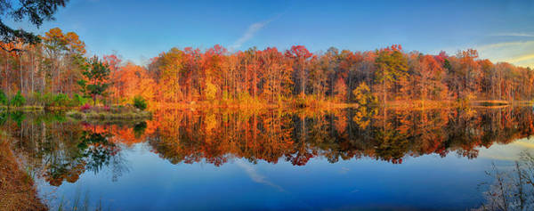 Photograph - Arwood Lake Autumn Panorama by Greg Norrell