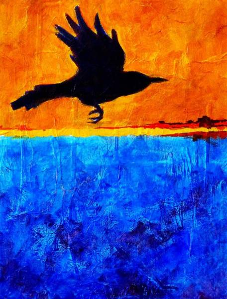 Wall Art - Painting - As The Crow Flies by Nancy Merkle