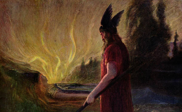 Nordic Painting - As The Flames Rise Odin Leaves by Hermann Hendrich