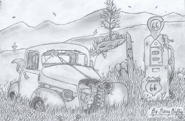 Gas Station Drawing - As  The Time Goes On  by Gerald Griffin