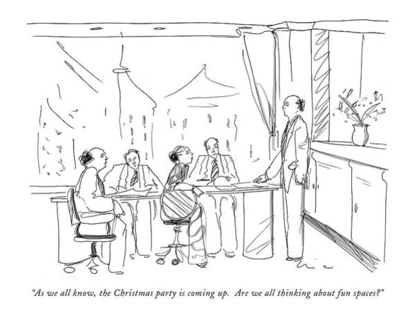Parties Drawing - As We All Know by Richard Cline