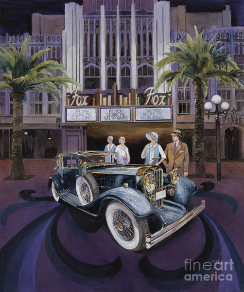 Collector Car Painting - ity Fox Theater Seqouia by Mike Hill