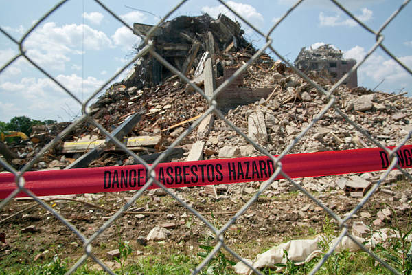 Housing Project Photograph - Asbestos Demolition Hazard Warning by Jim West
