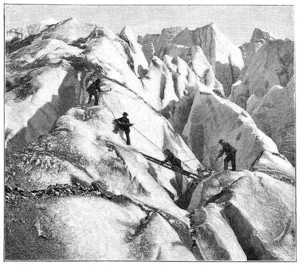 Crevasses Photograph - Ascent Of Mont Blanc by Science Photo Library