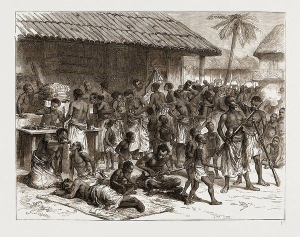 Dust Drawing - Ashantees Buying Muskets With Gold Dust At Assinee by Litz Collection