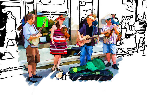 Asheville Mixed Media - Asheville Buskers by John Haldane