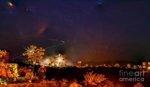 Grove Park Inn Photograph - Asheville Fireworks by Ryan Phillips