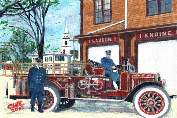 Vintage Fire Truck Painting - Ashland Ladder 1 by Cliff Wilson