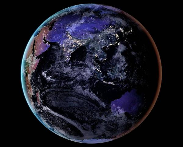 Earth Observation Wall Art - Photograph - Asia At Night by Nasa Earth Observatory/joshua Stevens/miguel Roman/gsfc/science Photo Library