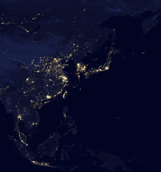 Suomi Photograph - Asia At Night, Satellite Image by Science Photo Library