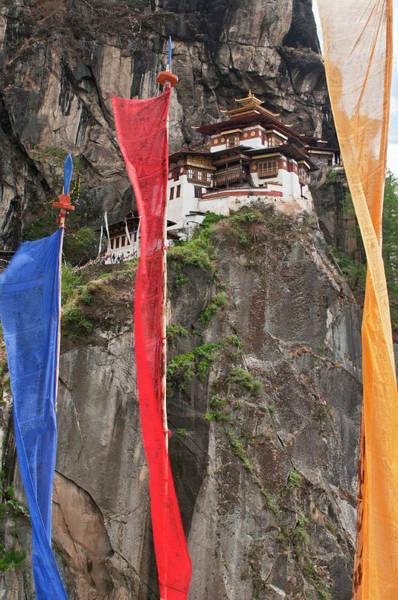Hanging Rock Photograph - Asia, Bhutan Prayer Flags Hang by Jaynes Gallery