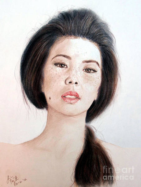 Freckle Drawing - Asian Beauty by Jim Fitzpatrick