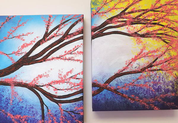 Painting - Asian Bloom Triptych 2 3 by Darren Robinson