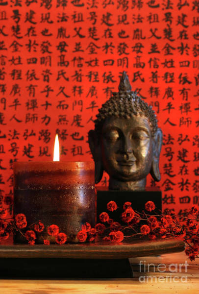 Wall Art - Photograph - Asian Candle With Red Orential Background by Sandra Cunningham