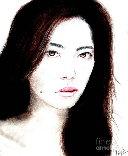 Freckle Drawing - Asian Model II by Jim Fitzpatrick