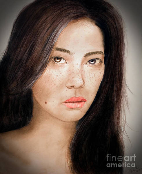 Freckle Drawing - Asian Model With Freckles Fade To Black by Jim Fitzpatrick