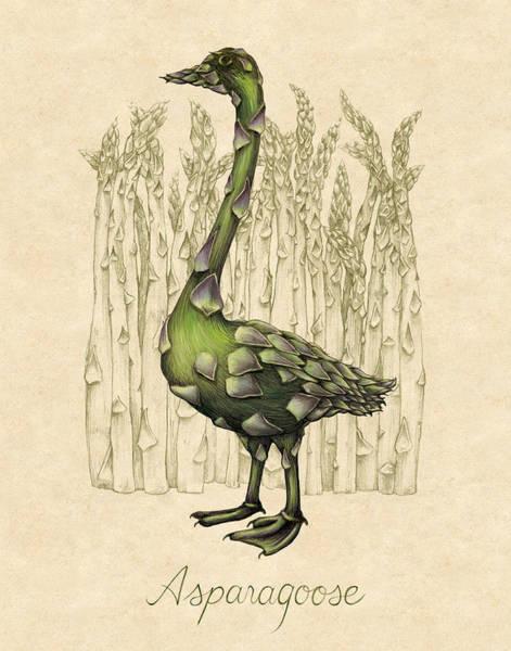 Goose Digital Art - Asparagoose by Allison Rogers