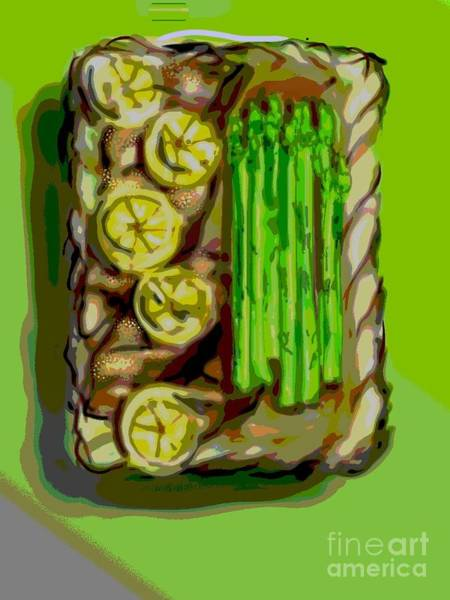 Painting - Asparagus And Lemon Chicken by Lisa Owen-Lynch