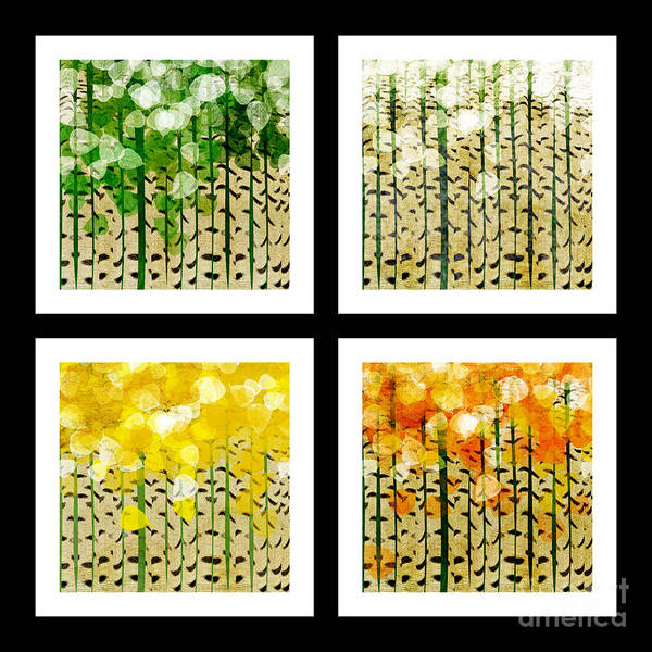 Digital Art - Aspen Colorado Abstract Square 4 In 1 Collection by Andee Design