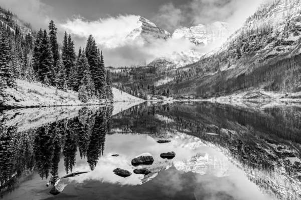Photograph - Aspen Colorado's Maroon Bells In Black And White by Gregory Ballos